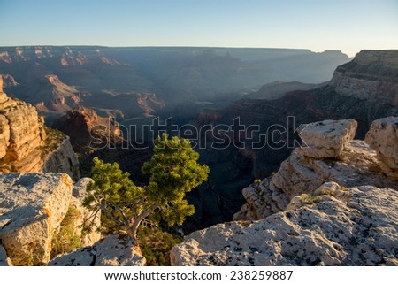 Sunset on a south rim of the Grand Canyond, USA. - stock photo