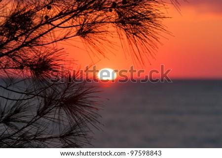 Sunset on Anakao, southern Madagascar - stock photo