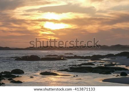 Sunset on Greens Pool beach, William Bay, Western Australia - stock photo