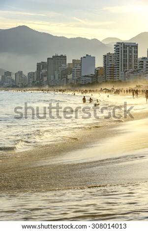 Sunset on Ipanema beach in Rio de Janeiro. - stock photo