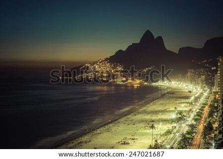 Sunset on Ipanema Beach in Rio de Janeiro, Brazil - stock photo