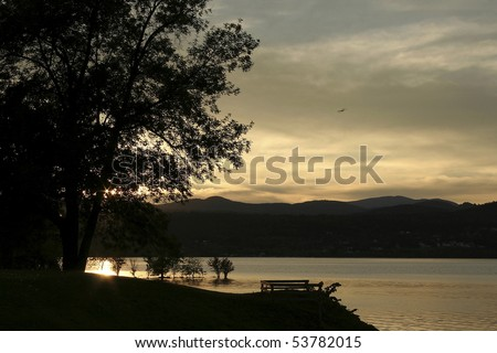 Sunset on Lake Champlain, New York. - stock photo
