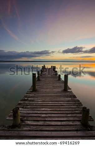 Sunset on Lake Peten Itza in Guatemala - stock photo