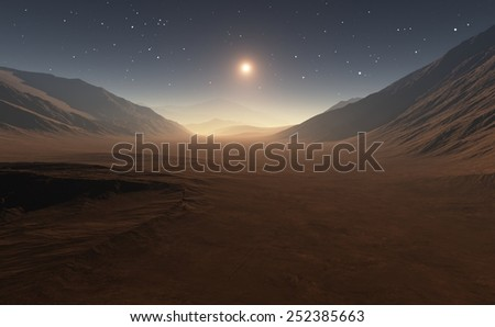 Sunset on Mars. - stock photo