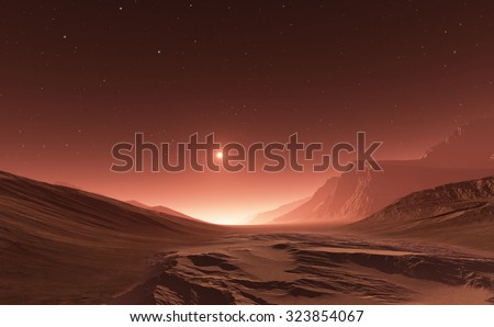 Sunset on Mars. Mars mountains, view from the valley - stock photo
