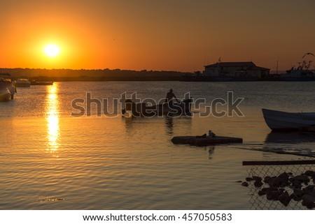 Sunset on port of Sozopol, Burgas Region, Bulgaria - stock photo