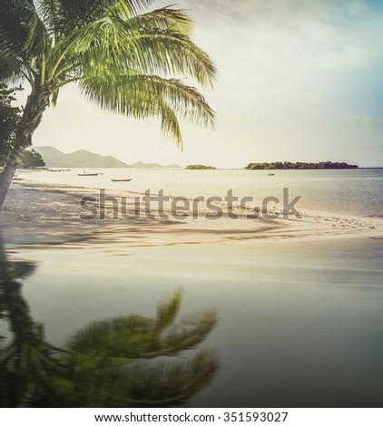 Sunset on Samui beach,Thailand. Vintage tone. - stock photo