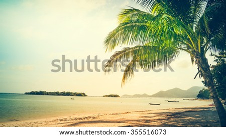 Sunset on Samui beach,Thailand. Vintage tone. - stock photo