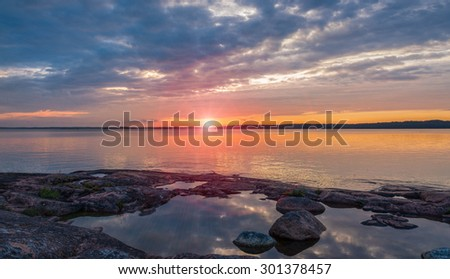 Sunset on the Baltic Sea - stock photo