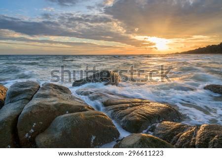Sunset on the Beach at Thailand - stock photo