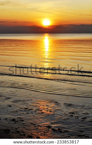 Sunset on the beach, Jurmala, Latvia, Baltic sea - stock photo