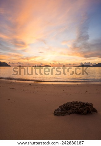 Sunset on the beach of Ao Nang in Krabi Thailand - stock photo