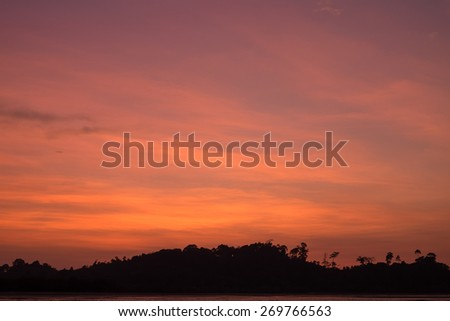 Sunset on the beach with beautiful sky,Thailnad - stock photo