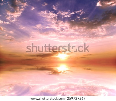 Sunset on the calm sea. The natural composition - stock photo