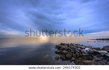 Sunset on the Chesapeake bay in Maryland - stock photo