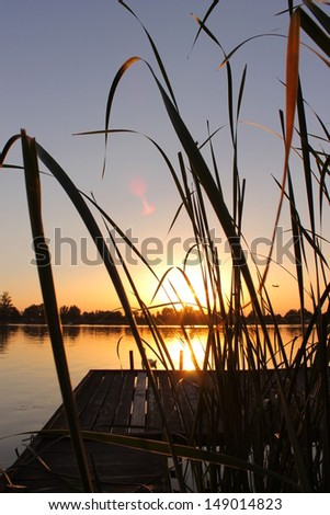 Sunset on the Danube river - stock photo