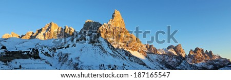 Sunset on the Dolomites.  Pale di San Martino mountain range.  Region Trentino, Italy - stock photo