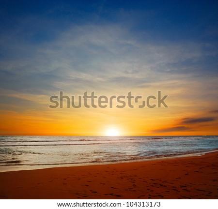 Sunset on the Indian Ocean - stock photo