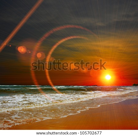 Sunset on the Indian Ocean - stock photo