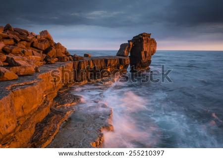 Sunset on the Isle of Portland, Dorset - stock photo