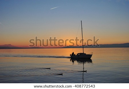sunset on the lake with sailboat and ducks - stock photo