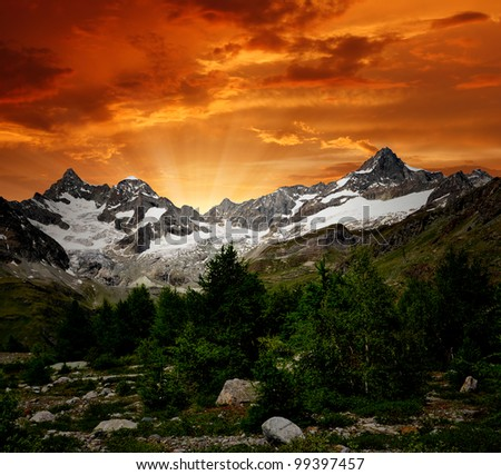 sunset on the Ober Gabelhorn - Swiss Alps - stock photo