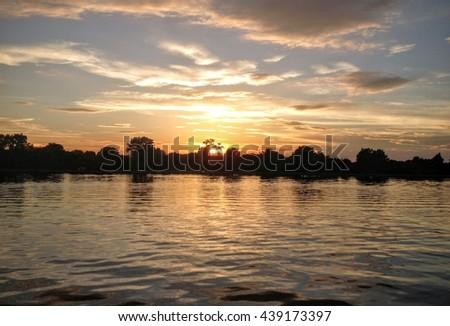 Sunset on the Potomac River - stock photo