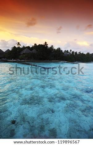sunset on the sea beach - stock photo
