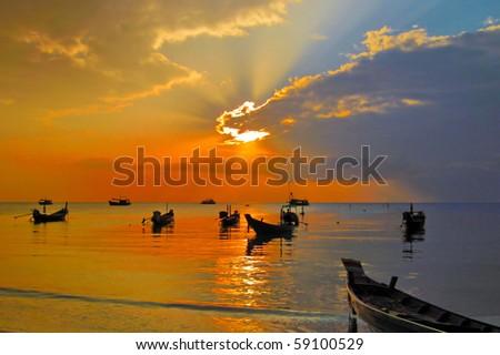 Sunset on tropical beach. Beach. Ko Tao island, Thailand - stock photo