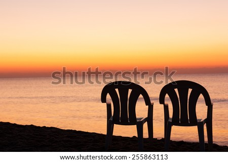 Sunset orange sky - stock photo