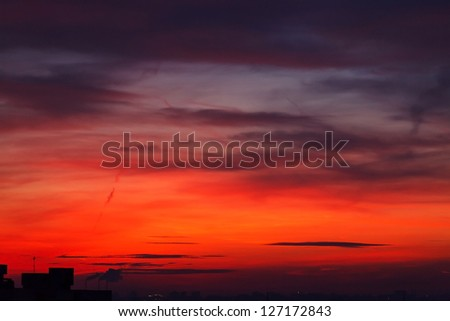 sunset over a ���ity - stock photo
