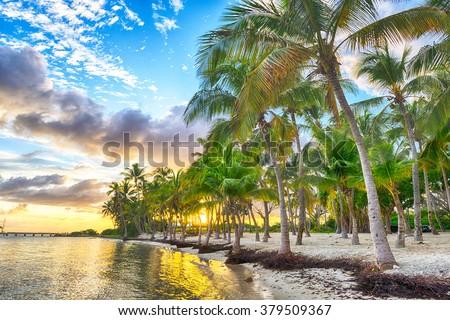 Sunset over Anse Champagne beach in Saint Francois, Guadeloupe, Caribbean - stock photo
