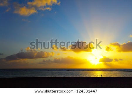 Sunset over Atlantic Ocean, Gran Canaria - stock photo