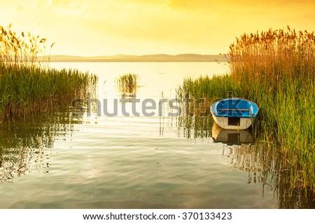 Sunset over Balaton - stock photo