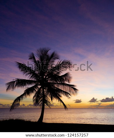 sunset over Caribbean Sea, Barbados - stock photo