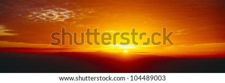 Sunset over Channel Islands and Pacific Ocean, Ventura, California - stock photo