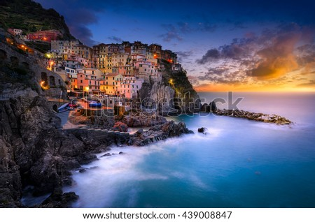 Sunset over Cinque Terre, Manarola, Tuscany, Italy - stock photo
