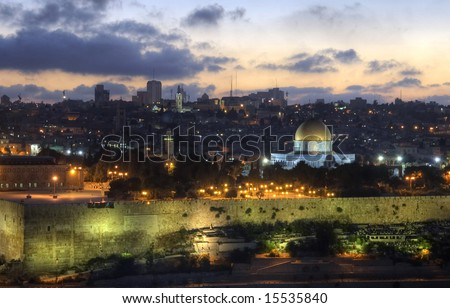 sunset over City of David in warm summer evening - stock photo