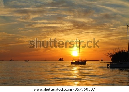 Sunset over Cuba from The Keys, Florida. - stock photo