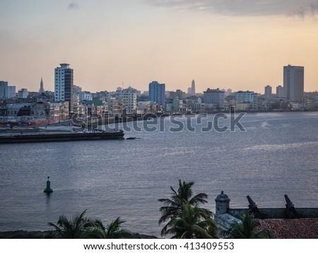 Sunset over Malecon, Havana Cuba - stock photo