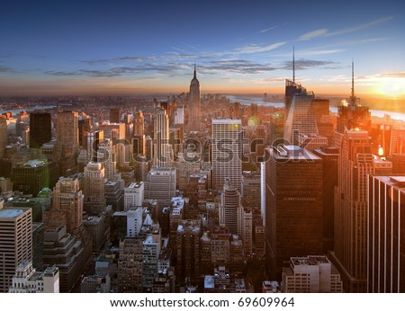 Sunset over Manhattan from Top of the Rock - stock photo