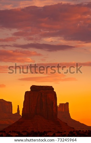 Sunset over Monument Valley - stock photo