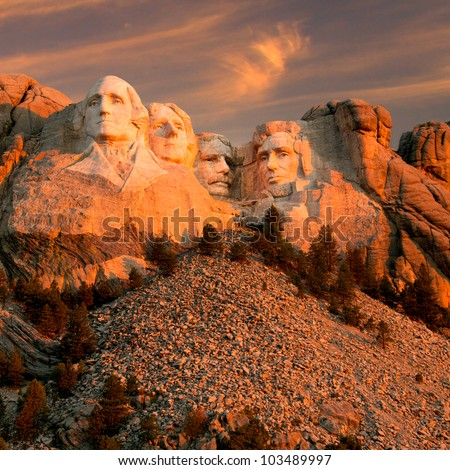 Sunset over Mount Rushmore Memorial - stock photo