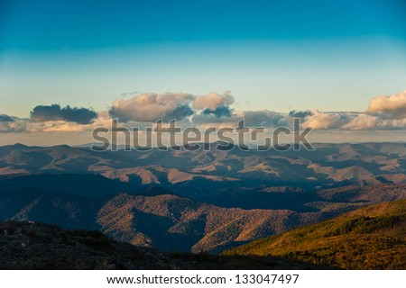 sunset over mountains Sikhote-Alin, Primorskiy kray, Russia - stock photo