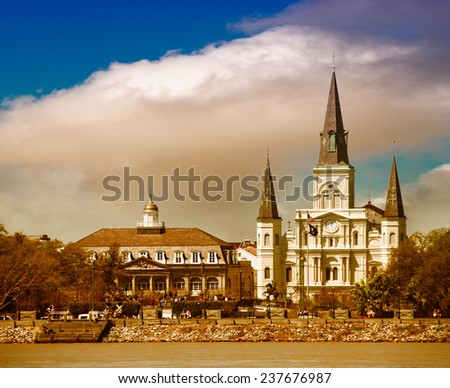 Sunset over New Orleans. Beautiful view of St Louis Cathedral. - stock photo