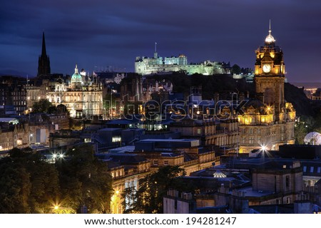 sunset over night Edinburgh from Calton Hill, Scotland - stock photo