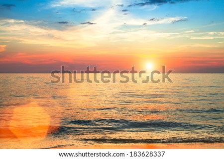 Sunset over ocean, nature composition. - stock photo