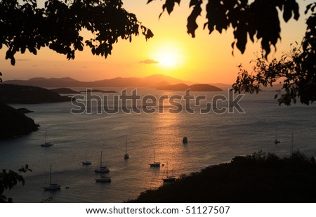 Sunset over Paradise-like US Virgin Islands - stock photo