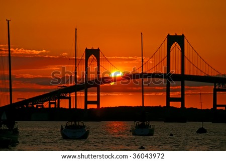 Sunset over Pell Bridge, Newport, RI Horizontal - stock photo