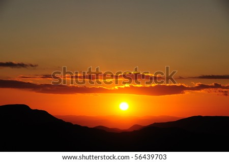 Sunset over Pillar and Ennerdale, English Lake District - stock photo